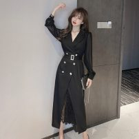 Dress Autumn 2020 White, black S,M,L,XL Mid length dress singleton  Long sleeves commute tailored collar High waist double-breasted A-line skirt routine 18-24 years old Type A literature