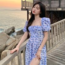 Dress Summer 2021 blue S, M Mid length dress singleton  Short sleeve commute square neck High waist Broken flowers Socket puff sleeve Others 18-24 years old Type H Retro D0326 31% (inclusive) - 50% (inclusive) other