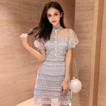 Dress Summer of 2019 Picture color S,M,L,XL Short skirt singleton  Short sleeve commute High waist Solid color A-line skirt Hanging neck style 18-24 years old Type A Other / other Korean version #0203
