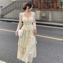 Dress Winter 2020 Apricot S, M longuette singleton  Long sleeves commute square neck High waist Solid color Socket Big swing routine 18-24 years old Type A court Lace C1231 Lace