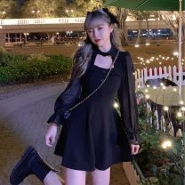 Dress Spring 2021 black S,M,L Short skirt singleton  Long sleeves commute other High waist Solid color Socket A-line skirt other Others 18-24 years old Type A Retro Hollowing out A0125