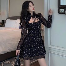 Dress Autumn 2020 black Average size Short skirt singleton  Long sleeves commute stand collar High waist Decor Socket A-line skirt routine Others 18-24 years old Type A Korean version printing