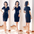 Dress Spring of 2018 One piece black dress S,M,L,XL,2XL,3XL Middle-skirt singleton  Short sleeve commute V-neck middle-waisted Solid color zipper One pace skirt routine Others 25-29 years old AI Shangchen Ol style zipper More than 95% polyester fiber