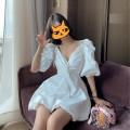 Dress Summer 2020 white S,M,L,XL Short skirt singleton  Short sleeve commute V-neck High waist Solid color zipper A-line skirt puff sleeve Others Type A Korean version bow