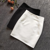 skirt Summer 2020 XS,S,M,L,XL,2XL Black, white Short skirt commute High waist skirt Solid color 18-24 years old other nylon zipper