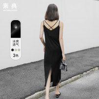Dress Summer of 2019 Black apricot MINT XS S M L XL Mid length dress singleton  Sleeveless commute V-neck Loose waist Solid color Socket Big swing routine camisole 18-24 years old Type H Wheiteallusion / Sutra Korean version backless S19XI0425 More than 95% polyester fiber Polyester 100%