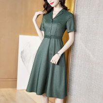 Dress Summer 2021 green M L XL 2XL 3XL 4XL longuette singleton  Short sleeve commute V-neck middle-waisted Solid color Socket A-line skirt routine 35-39 years old Type A Sgediya / Santa Cordia Korean version Stitching buttons 1001-8205092 31% (inclusive) - 50% (inclusive) Chiffon polyester fiber