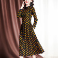 Middle aged and old women's wear Spring 2021 Decor M [recommended 95-105 kg] l [recommended 105-115 kg] XL [recommended 115-125 kg] 2XL [recommended 125-135 kg] 3XL [recommended 135-150 kg] commute Dress easy singleton  lattice 40-49 years old Socket Crew neck Medium length routine fold polyester