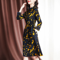 Dress Spring 2021 Decor M L XL 2XL Mid length dress singleton  Long sleeves commute Crew neck middle-waisted Decor A button A-line skirt routine Others 35-39 years old Sgediya / Santa Cordia Korean version Patchwork button print 1001-82093903 51% (inclusive) - 70% (inclusive) polyester fiber