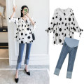 T-shirt V-neck M,L,XL,XXL Other / other Single Polka top, single jeans, Polka Top + jeans set, single magic pants, Polka Top + magic Pants Set 5 / 7 sleeves spring and autumn Korean version have cash less than that is registered in the accounts Dot routine