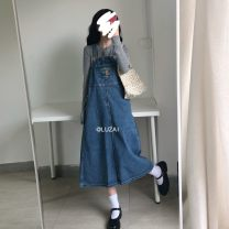 Dress Autumn 2020 blue S,M,L Mid length dress singleton  Sleeveless commute Loose waist Socket Big swing straps 18-24 years old Type A Korean version Button 51% (inclusive) - 70% (inclusive) Denim other