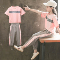 suit Rabbit nourishing White, blue, peach pink female summer leisure time Short sleeve + pants 2 pieces Thin money There are models in the real shooting Socket nothing Solid color cotton elder Expression of love Class B Cotton 95% other 5% 14, 13, 12, 11, 10, 9, 8, 7, 6, 5, 4, 3 Chinese Mainland