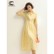 Dress Summer of 2019 Moonlight yellow XL S M L Mid length dress singleton  Nine point sleeve commute High waist Solid color Socket routine 30-34 years old Type X COCO BELLA Ol style Splicing 30% and below nylon Lyocell 80% polyamide 20% Same model in shopping mall (sold online and offline)
