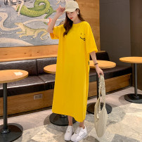 T-shirt Yellow, black, blue L,XL,2XL,3XL Summer 2021 Short sleeve V-neck Straight cylinder Medium length routine commute cotton 96% and above 25-29 years old Korean version youth letter printing