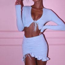 Fashion suit Autumn 2020 S,M,L White, blue 81% (inclusive) - 90% (inclusive)