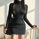 Dress Winter 2020 White, black S,M,L Short skirt singleton  Long sleeves commute High collar middle-waisted Solid color Socket Pencil skirt routine Simplicity 31% (inclusive) - 50% (inclusive) cotton