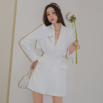 Dress Spring 2021 Black, white XS,S,M,L Mid length dress Fake two pieces Long sleeves street tailored collar High waist Solid color Single breasted A-line skirt routine Others 25-29 years old Type H laria collection Open back, three-dimensional decoration SS202126 51% (inclusive) - 70% (inclusive)