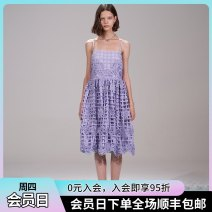 Dress Spring 2021 violet XS,S,M,L Mid length dress singleton  Sleeveless commute One word collar middle-waisted Solid color other A-line skirt routine camisole Type A literature EH21SR28 other
