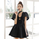 Dress Summer 2021 black XS,S,M,L,XL Short skirt singleton  Short sleeve commute Crew neck High waist Solid color Socket A-line skirt routine Others Type A Simplicity More than 95% other polyester fiber