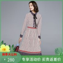 Dress Spring 2020 Decor, green S,XL,L,M,XXL Mid length dress singleton  Long sleeves commute Polo collar High waist Decor Single breasted A-line skirt routine Others 25-29 years old Multiflora / mortiflora Printing, splicing other polyester fiber