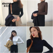 T-shirt Spring of 2019 Long sleeves High collar Self cultivation Regular routine commute cotton 96% and above 18-24 years old Simplicity classic