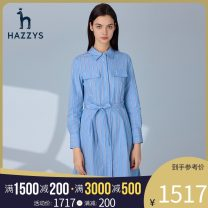 Dress Spring 2021 blue 155/80A 160/84A 165/88A 170/92A Mid length dress singleton  Long sleeves commute other middle-waisted stripe other other Others 25-29 years old Hazzys Britain AQWSC01AX24 More than 95% cotton Cotton 100% Same model in shopping mall (sold online and offline)