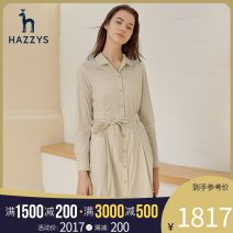 Dress Spring 2021 Beige Navy 155/80A 160/84A 165/88A 170/92A Mid length dress Long sleeves commute middle-waisted Solid color Single breasted other 25-29 years old Hazzys Britain AQWSC01AX01 51% (inclusive) - 70% (inclusive) cotton Same model in shopping mall (sold online and offline)