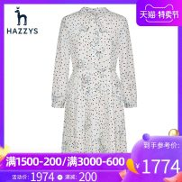 Dress Spring of 2019 Light beige 160/84A 165/88A 170/92A Mid length dress Long sleeves Sweet other High waist Dot Socket Princess Dress other Others 25-29 years old Hazzys More than 95% polyester fiber Polyester 100% Same model in shopping mall (sold online and offline)