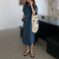 Dress Summer 2021 Picture color S,M,L,XL longuette singleton  Short sleeve commute Polo collar Loose waist Solid color Single breasted other routine Others Type H Korean version Pockets, rags, buttons 51% (inclusive) - 70% (inclusive) Denim cotton
