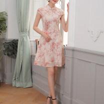 cheongsam Summer 2020 L,XL,XXL,3XL,4XL Pink Short sleeve Short cheongsam lady No slits daily Oblique lapel Broken flowers 25-35 years old Piping 96% and above