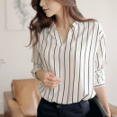 shirt Black and white stripes S,M,L,XL,2XL,3XL Spring of 2018 polyester fiber 51% (inclusive) - 70% (inclusive) Long sleeves commute Regular stand collar routine stripe 25-29 years old Korean version