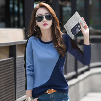 T-shirt Blue black M L XL XXL XXXL Summer of 2019 Long sleeves Crew neck easy Regular routine commute cotton 86% (inclusive) -95% (inclusive) 40-49 years old Korean version other Splicing Kavier Bonwe A88CT5622 Splicing Cotton 92% polyurethane elastic fiber (spandex) 8% Pure e-commerce (online only)