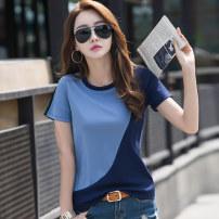 T-shirt Blue black M L XL XXL XXXL Summer of 2019 Short sleeve Crew neck easy Regular routine commute cotton 86% (inclusive) -95% (inclusive) 30-39 years old Korean version originality Color matching Kavier Bonwe A88DX7216 Splicing Cotton 95% polyurethane elastic fiber (spandex) 5%