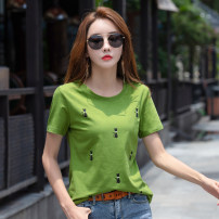 T-shirt Light blue pink green M L XL XXL XXXL Summer of 2019 Short sleeve Crew neck easy Regular routine commute cotton 86% (inclusive) -95% (inclusive) 30-39 years old Korean version youth Cartoon animation Kavier Bonwe printing Cotton 95% polyurethane elastic fiber (spandex) 5%