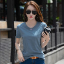T-shirt M L XL XXL XXXL Summer of 2019 Short sleeve V-neck easy Regular routine commute cotton 86% (inclusive) -95% (inclusive) 30-39 years old Korean version classic Solid color Kavier Bonwe Stitching buttons Cotton 95% polyurethane elastic fiber (spandex) 5% Pure e-commerce (online only)
