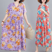 Dress Summer 2020 Purple, red, green M,L,XL,2XL longuette singleton  Short sleeve commute V-neck Loose waist Decor Socket A-line skirt routine Others 35-39 years old Type A Other / other literature printing 51% (inclusive) - 70% (inclusive) other cotton