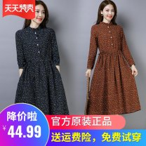 Dress Autumn 2020 Brown, red, navy M,L,XL,2XL,3XL Mid length dress singleton  Long sleeves commute stand collar Loose waist Broken flowers Socket A-line skirt routine Others 30-34 years old Type A Other / other Retro Lace up, button, print 1221-02 51% (inclusive) - 70% (inclusive) other cotton