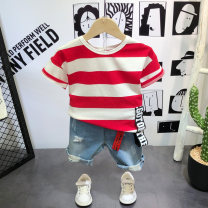 T-shirt Striped T-shirt, denim pants, 2-piece set Other / other 90cm (7), 100cm (9), 110cm (11), 120cm (13), 130cm (15) male summer Short sleeve Crew neck Korean version There are models in the real shooting nothing other stripe Other 100% Three, seven, six, five, four, two