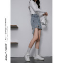 skirt Spring 2021 S,M,L,XL Light blue, dark blue, black Short skirt High waist A-line skirt Solid color Type A 18-24 years old 81% (inclusive) - 90% (inclusive) Denim Other / other other