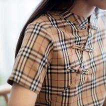 cheongsam Summer 2020 S,M,L,XL khaki Short sleeve Single cheongsam literature Low slit daily Oblique lapel lattice Yu Xiang cotton 51% (inclusive) - 70% (inclusive)