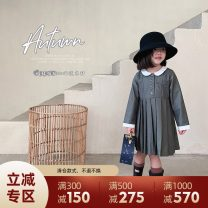 Dress High grade grey female UTOUTO 80cm,90cm,100cm,110cm,120cm,130cm,140cm Other 100% spring and autumn other other 2 years old, 3 years old, 4 years old, 5 years old, 6 years old, 7 years old, 8 years old