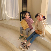 shirt Eggshell apricot, pink purple UTOUTO female 80cm, 90cm, 100cm, 120cm, 130cm, 140cm, 110cm (model try on) spring and autumn Long sleeves Solid color Cotton and hemp stand collar