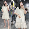 Dress Summer 2021 white S,M,L,XL,2XL Mid length dress singleton  Short sleeve street Crew neck Loose waist Solid color Socket Princess Dress routine Others Type A 81% (inclusive) - 90% (inclusive) other cotton Europe and America