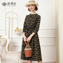 Dress Spring 2021 Yellow flower on black background M L XL 2XL Mid length dress singleton  three quarter sleeve commute Crew neck High waist Broken flowers A button A-line skirt routine Others 30-34 years old Type A Ursula Britain OXL2801 More than 95% Chiffon polyester fiber Polyester 100%