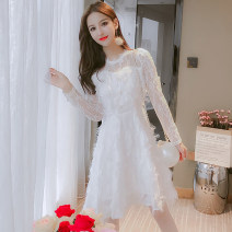 Dress Spring 2021 White, black S,M,L,XL longuette singleton  Long sleeves commute V-neck High waist Solid color Socket A-line skirt routine Others Type A JQSD Korean version Splicing 81% (inclusive) - 90% (inclusive) Lace other
