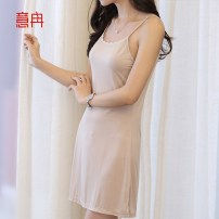 Nightdress Y-ran / Yiran The skin color is black and white 155(S) 160(M) 165(L) 170(XL) 175(XXL) Simplicity camisole pajamas Short skirt summer Solid color youth Crew neck silk lace More than 95% Knitted cotton fabric 200g and below Spring and summer 2016 Mulberry silk 100% Mulberry silk 100% no