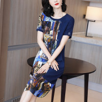 Dress Summer 2020 blue L XL XXL XXXL Mid length dress singleton  Short sleeve commute Crew neck Loose waist Decor Socket other routine Others 40-49 years old Type H Y-ran / Yiran Retro printing MSW-4394 91% (inclusive) - 95% (inclusive) other silk Pure e-commerce (online only)