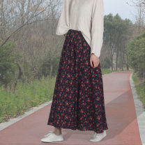skirt Spring 2020 Skirt length 80 cm, skirt length 90 cm Color 39 longuette A-line skirt Broken flowers Dushen Chengpin