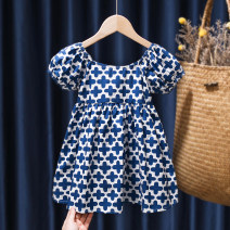 Dress Blue, black, 622 blue, 622 pink female Tagkita / she and others 80, 90, 100, 110, 120, 130 Cotton 95% other 5% summer fresh Short sleeve Cartoon animation cotton Pleats FHW2083 Chinese Mainland