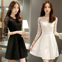Dress Spring 2021 Middle-skirt singleton  Long sleeves commute Crew neck middle-waisted Solid color zipper A-line skirt routine Others Type A Korean version Hollowed out, stitched, zipper, lace 51% (inclusive) - 70% (inclusive) Lace other